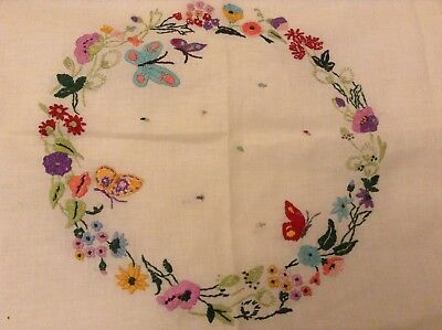 Vintage Hand Embroidered Linen Tablecloth Butterflies Floral Colour 26x28 Inches