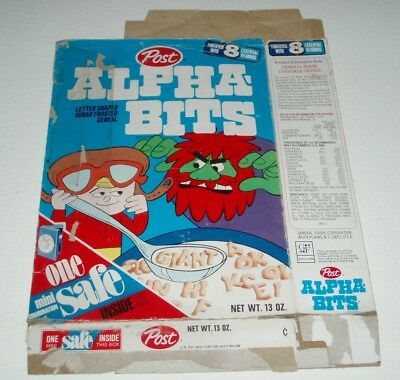 1970's Post Alpha-bits Cereal Box w/ GIANT on front