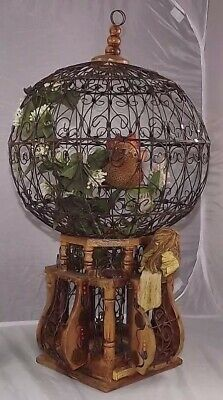 French Victorian Wood Bird Cage Vintage Mid Century Parisian Art Deco Boudoir