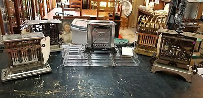 4 Antique Toaster Collection & Glass Toaster Tray, Universal, Torrid, Star-Rite