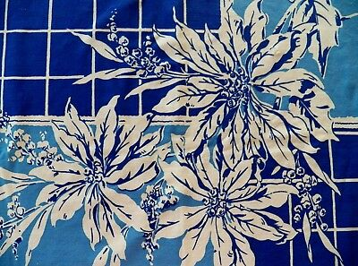 """1950's Vintage Cotton Printed Floral Tablecloth Great Cond Few flaws 52"""" x 64"""""""