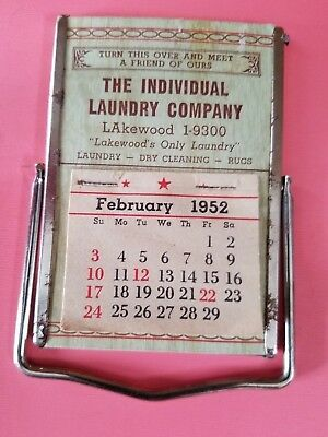 Vintage Advertising Desk Calendar 1952 The Individual Laundry Co. Lakewood, OH