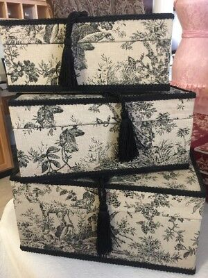 Vintage Set Of Square Fabric Covered Hat Boxes