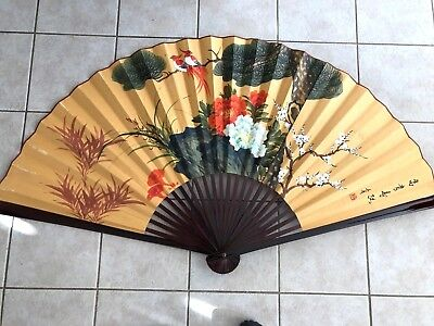 "Vintage Large Asian Fan Wall Decor Hand Painted  65""x34"" Chinese Cherry"