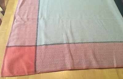 Vtg Simtex Midcentury Modern Tablecloth Wright go-with Coral Grey Black 48 x 46