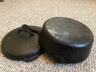 """10"""" Vintage Hammered Cast Iron Deep Skillet With Lid #8 Chicken Fryer Heavy Ugly"""