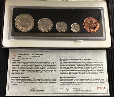 1908-1998 Canada 90th Anniversary RCM Proof Finish Sterling Silver 5 Coin Set