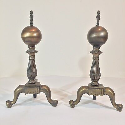 "VTG Andirons Brass Round Ball 19"" Tall Cast Iron Primitive Antique Marked W"