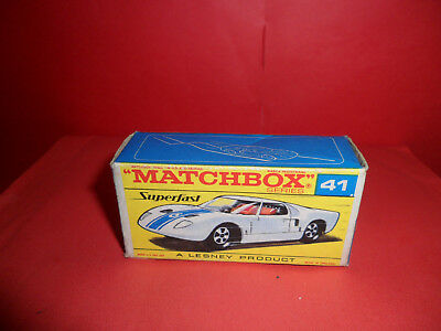 Matchbox Superfast #41 Ford G.T. Early F2 Type Original Empty Box,1972