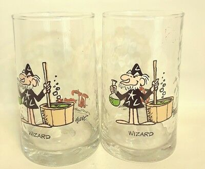 """Arby's Wizard of Id 1983 Collector Glasses (2) Vintage Tumblers HART 5.25""""H"""