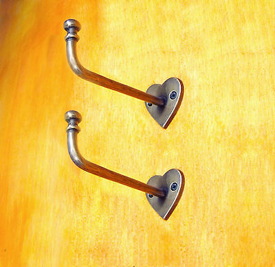 5.5 inches 2 pcs VINTAGE Hook LOVE WALL Mount Coat Hat Solid Brass Hooks Hanger