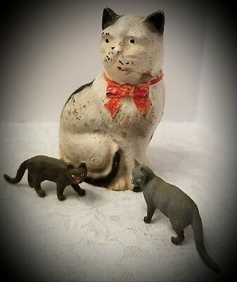 """Antique Cast Iron Hubley Cat Bank Red Bow Original Paint 4 1/2"""" with Entourage"""