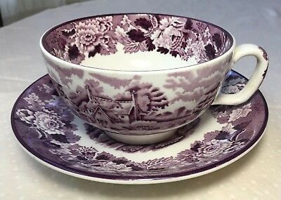 """Vintage Enoch Woods """"ENGLISH SCENERY"""" Jumbo Purple Cup and Saucer"""