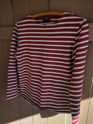 Saint James L'atelier boat neck red/cream shirt - Size 34 Small