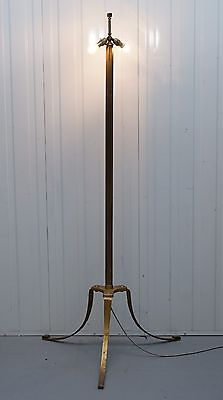 Large Wide Base Brass Three Legged Pillared Victorian Floor Standing Lamp