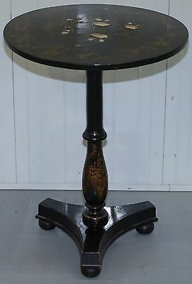 Rare Early 19Th Century Japanned Solid Wood Tilt Top Table Hand Painted