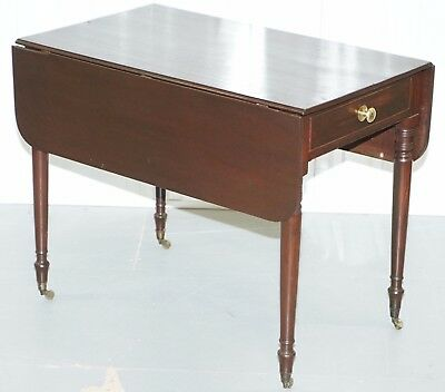 Mahogany Pembroke Table Seats 2 Folded 4 Unfolded Small With Cutlery Drawer