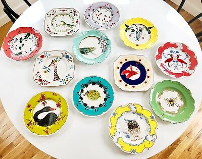 "Complete Set of 12 Anthropologie ""Nature Table"" Dessert/Salad Plates By Lou Rota"