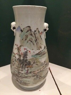 Late 19Th Early 20Th Century 16 Inch Antique Chinese Porcelain Vase, Calligraphy