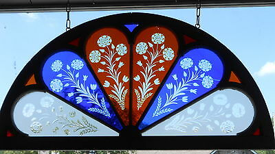 Arched Victorian Wheel Cut Flash Glass Stained Glass Window Rare Architectural