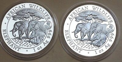 2-2013 Somalia African Wildlife Elephant 1 oz. Silver Coins With Snake Privy