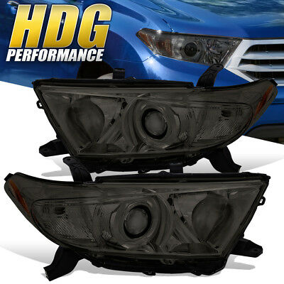 For 2011-2013 Toyota Highlander Replacement Smoke Headlights Amber Reflectors