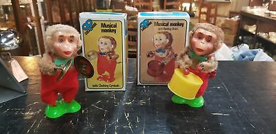 2 Vintage Musical Monkey Wind Up Toys Cymbals & Drum Boxes