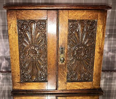 Antique Vintage Wood Smoking Cabinet Box Carved Doors And Pipes