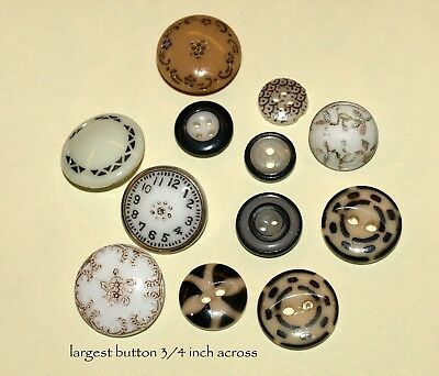 12 Vintage/Antique mostly Calico Type China Buttons.  Free Shipping!