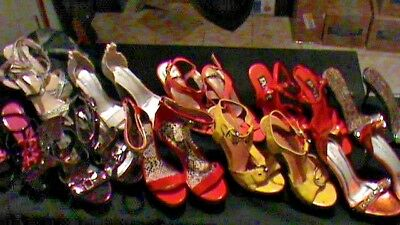 Size 7 Womens Beautiful Heels LOT (approx 24 pairs) sexy, fancy, wedges, sandals