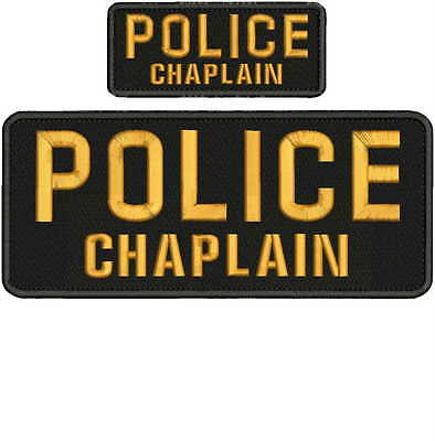 """POLICE CHAPLAIN Embroidery Patches 4 X 10"""" and 2x5hook on back  gold"""