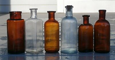 LOT OF SIX ANTIQUE, EARLY BLOWN IN MOLD MEDICINE-APOTHECARY BOTTLES- 1800's