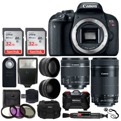 Canon EOS Rebel T7i DSLR Camera with 18-55mm & 55-250mm Lens + 64GB + Filter Kit