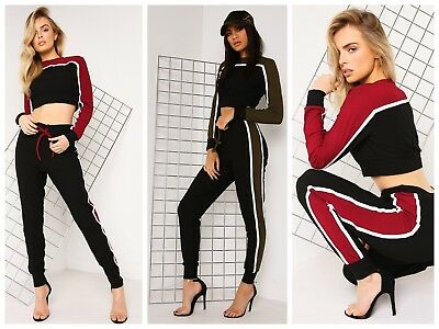 LoungeWear Tracksuit Ribbed Knitted Crop Top /& Bottom Casual Comfy Womens Ladies