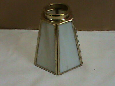 1 Vintage Bevel  Glass And Brass 6-sided Lamp Shade, Beautiful
