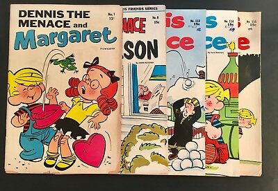 Dennis The Menace Comic Books Vintage 5 Book Lot Silver Age includes a #1 issue