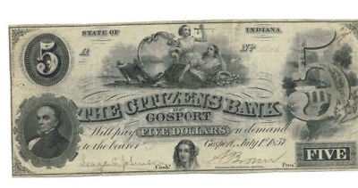 1857 - $5 Note Bill The Citizens Bank of Gosport  -  State of Indiana