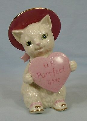 "Lenox Store Exclusive Valentine Cat With Heart U R Purrfect 4 Me 4.5"" Mint"