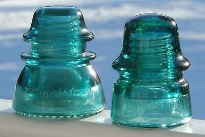 Lot of Two Antique Teal Glass Insulators- HEMINGRAY/ BROOKFIELD