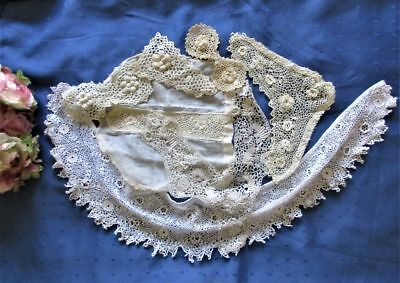 Antique Lot Of Hand Made Irish Crochet Lace~Collar~Dress Trims~Appliques~Motifs
