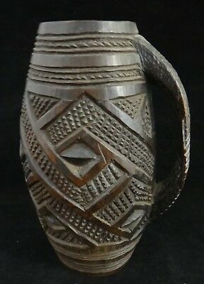 "Vintage African Kuba Carved Wood Handled Cup. 6 ¾"" , 1st ½ 20th c. Congo area."