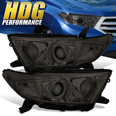 For 2011-2013 Toyota Highlander Replacement Smoke Headlights Clear Reflectors