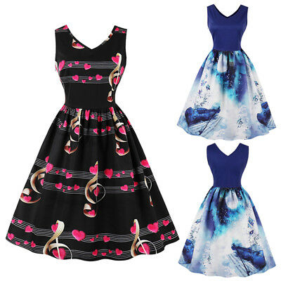 Women Vintage Retro Style Gothic Swing Music Note 50s Rockabilly Party Dress
