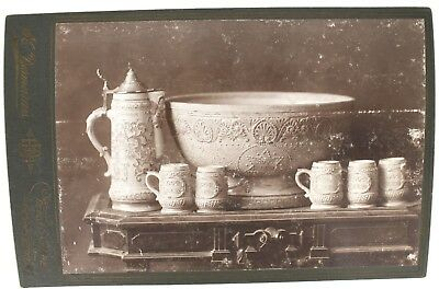 LATE 1800s WHITE'S STONEWARE POTTERY UTICA NY ROOT BEER CABINET CARD NO RESERVE