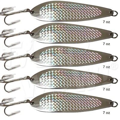 5pcs Fish WOW! 210ml Fishing Spoon with a Treble Hook 198g Fish Jig Bait Lures
