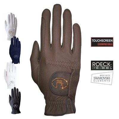 (8, Navy) - Roeckl - ladies crystal riding gloves LISBOA. Delivery is Free