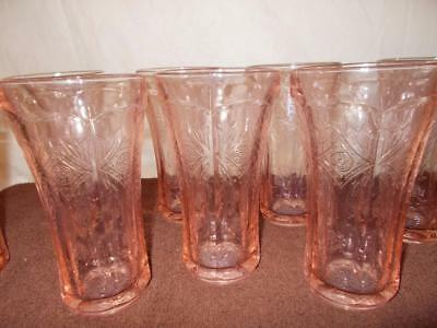 Lot/ 11- 12 oz Federal-Indiana Madrid Pink Recollection Tumblers, Glasses