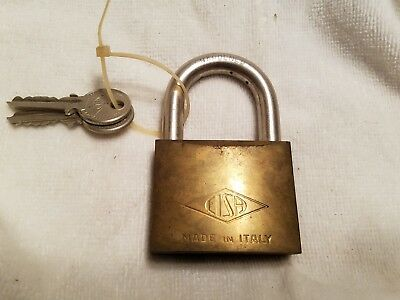 LARGE VINTAGE CISA Made in Italy Padlock lock with 2 Keys WORKS GREAT BRASS