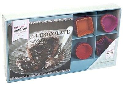 Chocolate puddings, cakes, fudge Recipe Book Gift Set With 16 Silicone Moulds