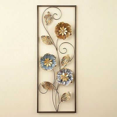 Silver Gold Metallic Flowers Leaf Framed Metal Wall Plaque Hanging Home Decor